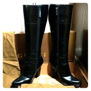 GUCCI BABY LUX LEATHER BLACK patent HEELED BOOTS
